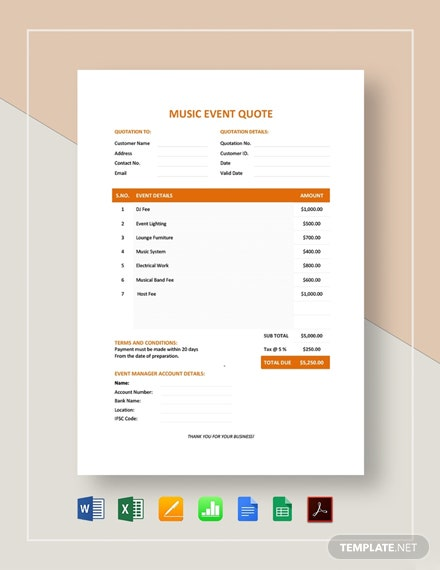 Music Event Quote Template
