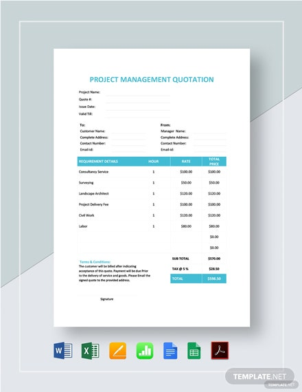 Project Management Quotation Template