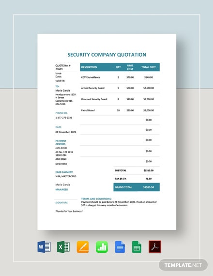 Security Company Quotation Template
