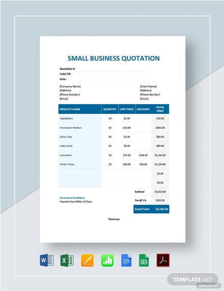Small Business Quotation Template