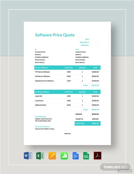 Software Price Quote Template