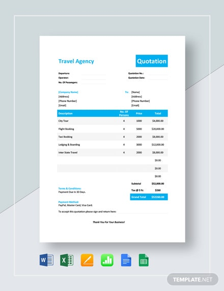 Travel Service Quotation Template