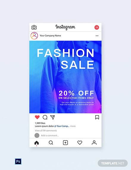 Free Fashion Sale Discounts Instagram Post Template
