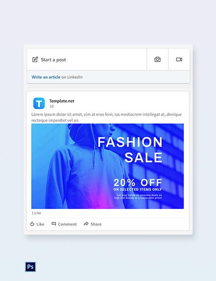 Free Fashion Sale Discounts LinkedIn Blog Post Template