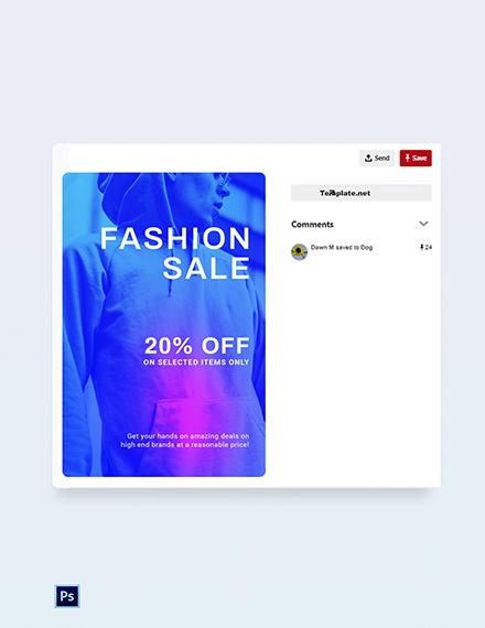 Free Fashion Sale Discounts Pinterest Pin Template