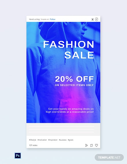 Free Fashion Sale Discounts Tumblr Post Template