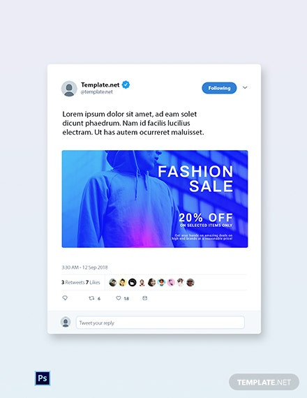 Free Fashion Sale Discounts Twitter Post Template