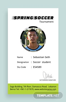 Free Soccer Identity Card Template