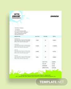 Free Soccer Invoice Template