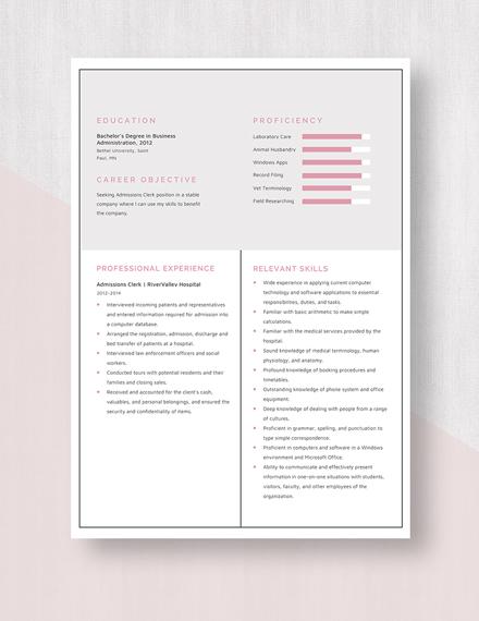 Admissions Clerk Resume Template