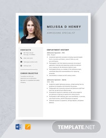 Admissions Specialist Resume Template