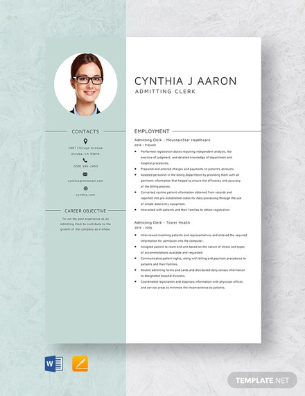 Admitting Clerk Resume Template