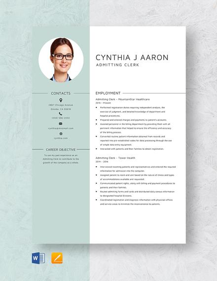 Admitting Clerk Resume Template