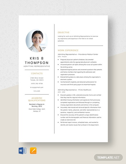 Admitting Representative Resume Template