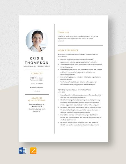 Admitting Representative Resume Template