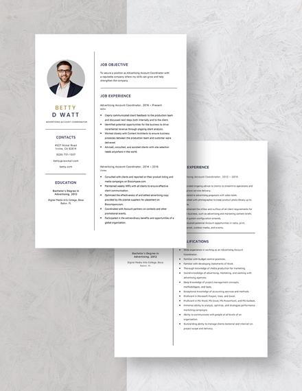 Advertising Account Coordinator Resume Template Download