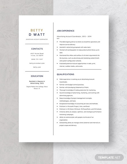 Advertising Account Coordinator Resume Template