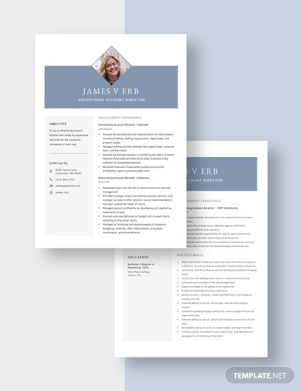 Advertising Account Director Resume Download