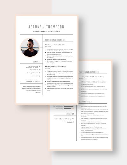Advertising Art Director Resume Download