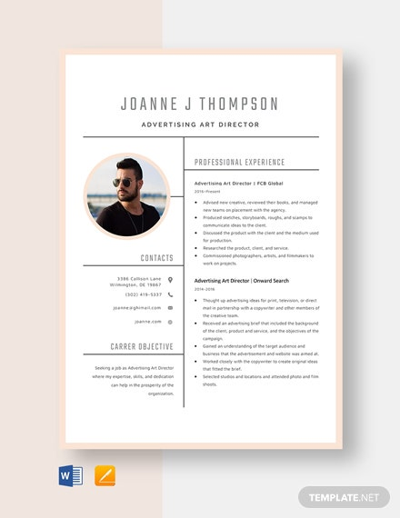 Advertising Art Director Resume Template