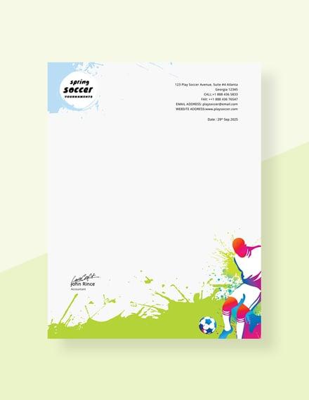 Free Soccer Letterhead Template
