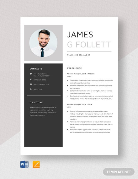 Alliance Manager Resume Template