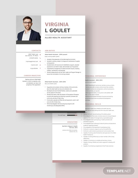 Allied Health Assistant Resume Download