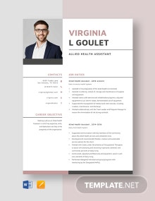 Allied Health Assistant Resume Template