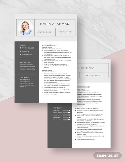 Analytical Chemist Resume Download