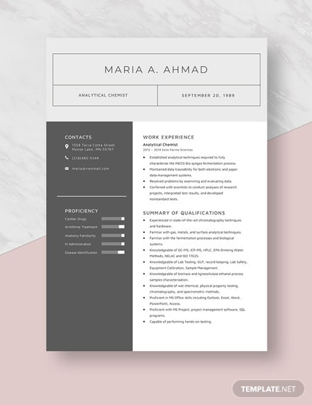 Analytical Chemist Resume Template