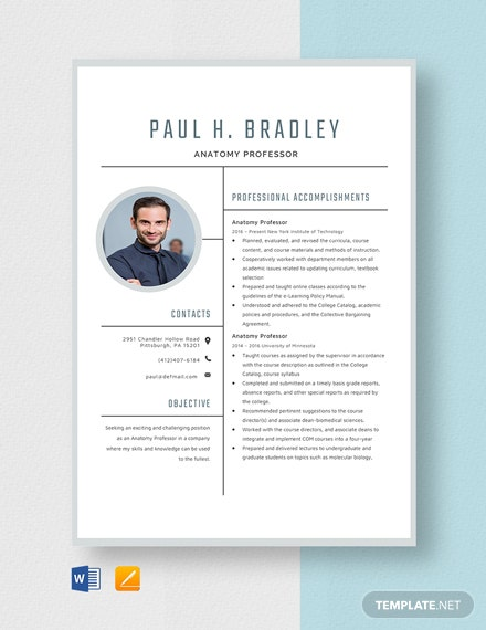 Anatomy Professor Resume Template
