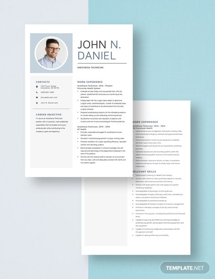 Anesthesia Technician Resume Template - Word (DOC) | Apple ...