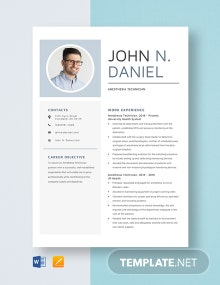 Anesthesia Technician Resume Template