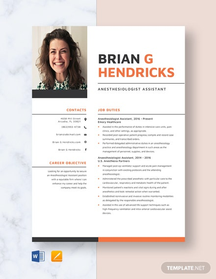 Anesthesiologist Assistant Resume Template