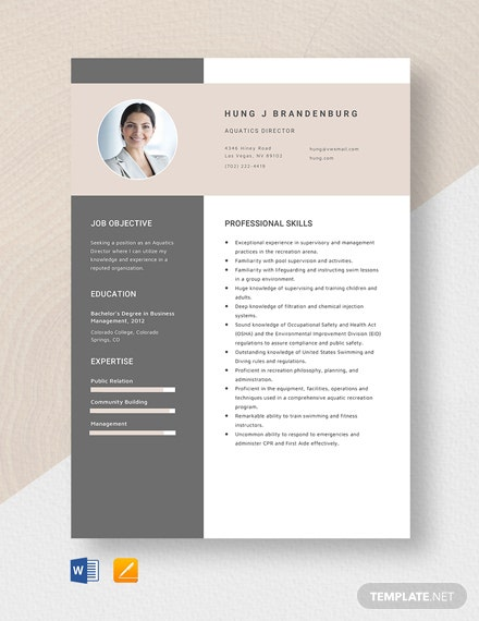 Aquatics Director Resume Template