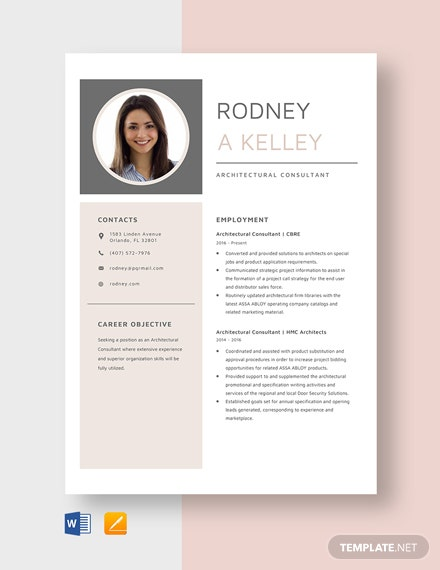 Architectural Consultant Resume Template