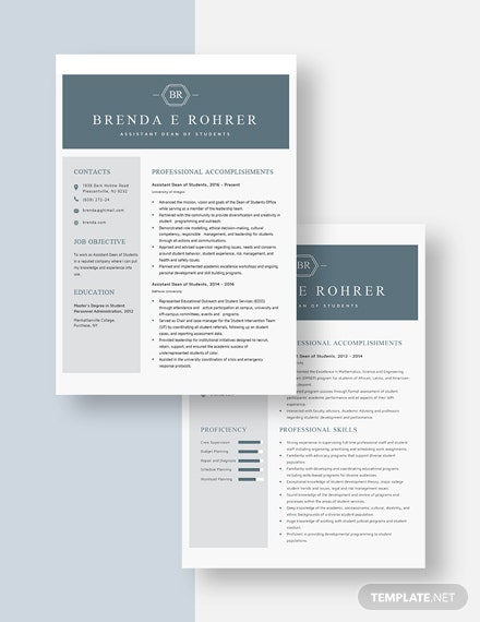 Assistant Dean of Students Resume Download