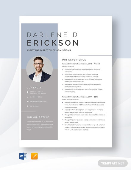 Assistant Director of Admissions Resume Template