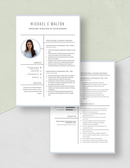 Assistant Director of Development Resume Download