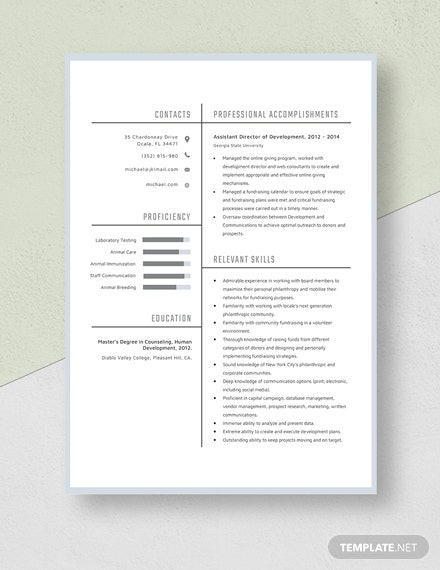 Assistant Director of Development Resume Template