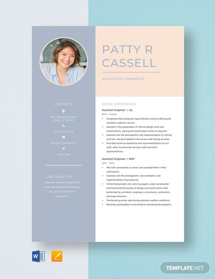 Assistant Engineer Resume Template