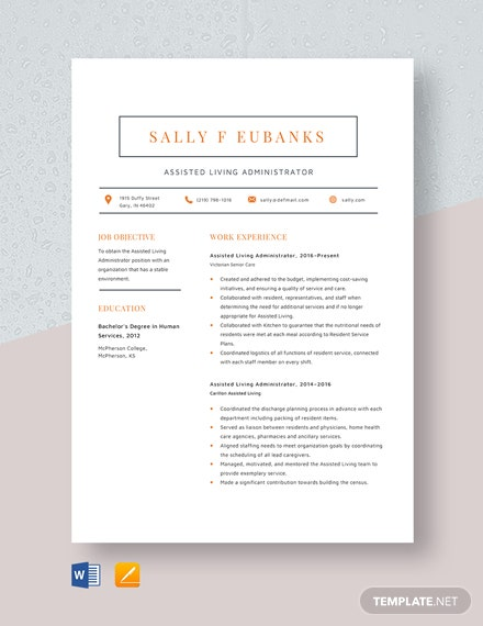 Assisted Living Administrator Resume Template