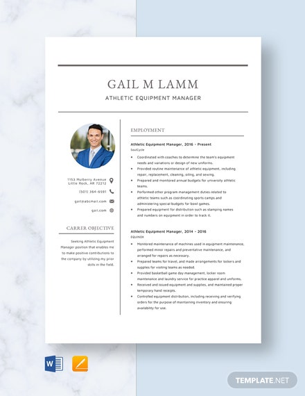 Athletic Equipment Manager Resume Template