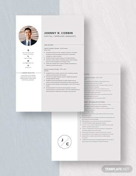 Capital Campaign Manager Resume Download