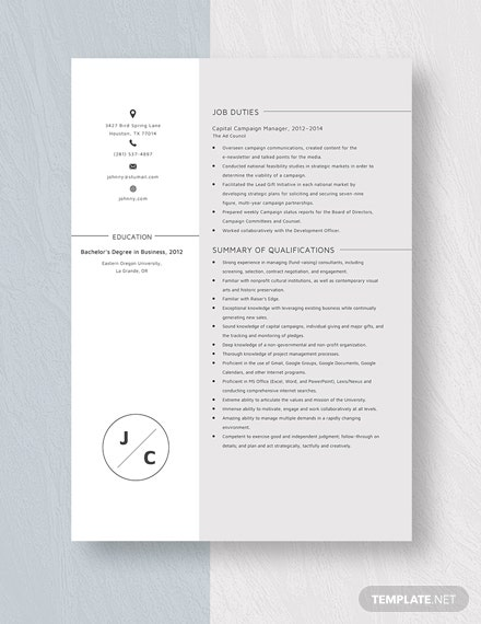 Capital Campaign Manager Resume Template