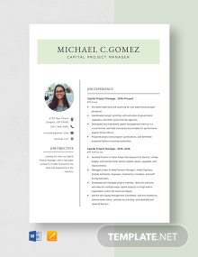 Capital Project Manager Resume Template