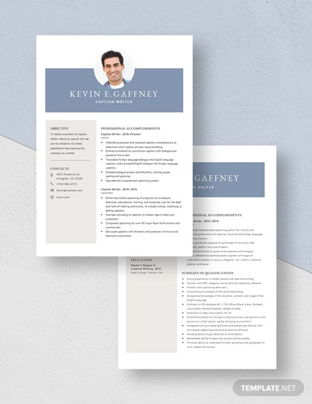 Caption Writer Resume Download