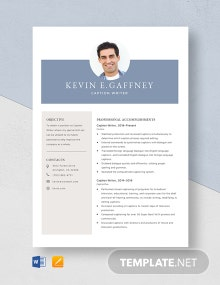Caption Writer Resume Template