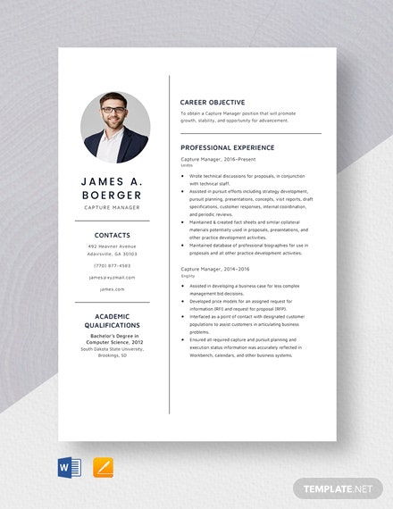 Capture Manager Resume Template