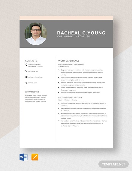 Car Audio Installer Resume Template